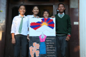 Students with their art work